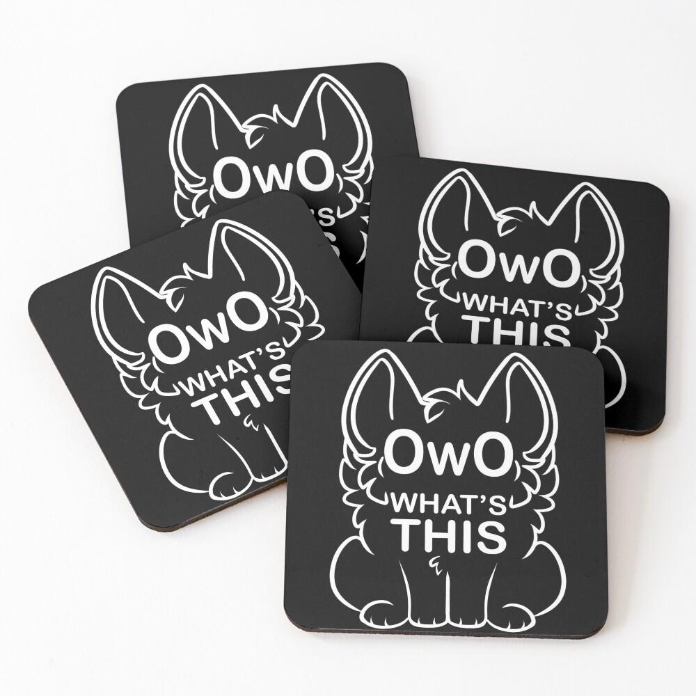 OwO What's this? - white text Coasters (Set of 4)