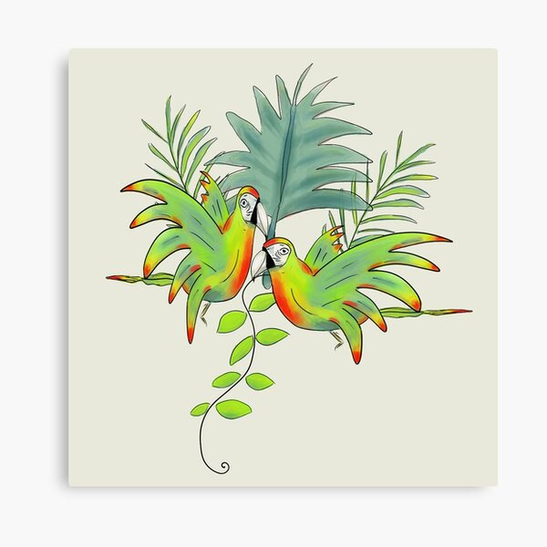 Parrots and Palm Leaves Canvas Print