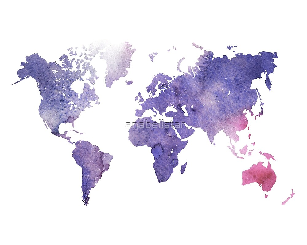 Purple Watercolor World Map by anabellstar