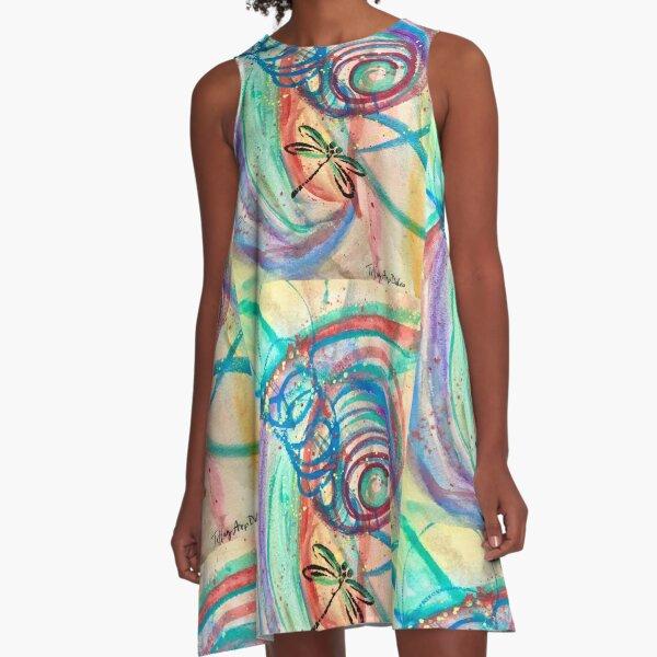 Dragonfly Spiraling A-Line Dress