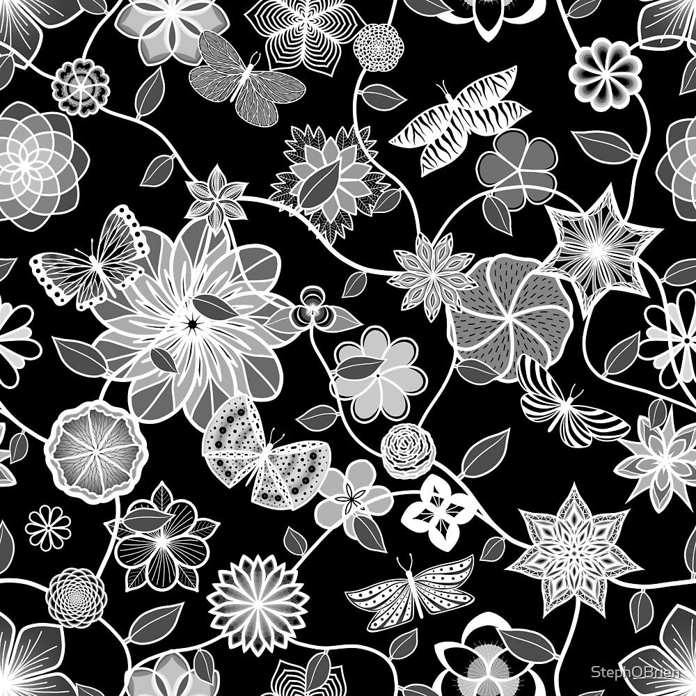 Butterfly Garden - White on Black by StephOBrien