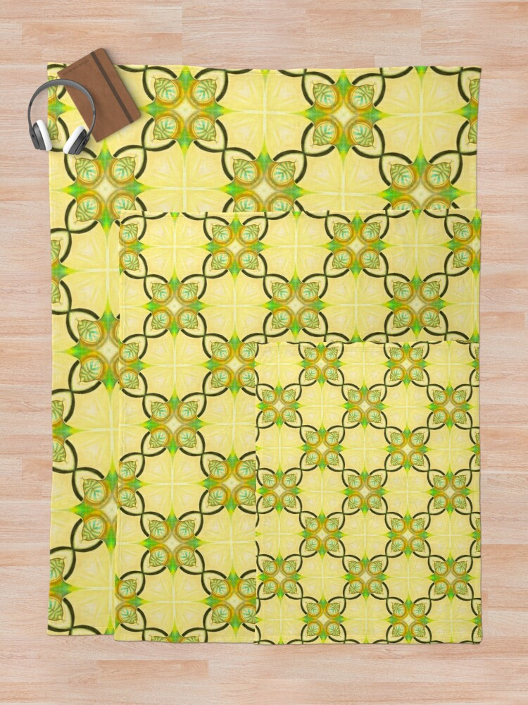 Alternate view of Gold, Blue and Green Repeat Pattern Throw Blanket