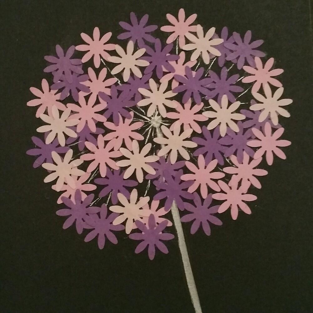 Purple pink and cream Allium by AvisArt