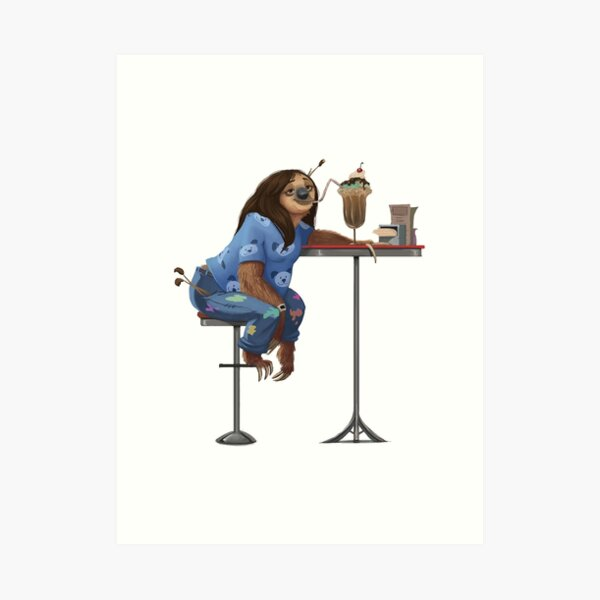 Just a Sloth and Her Chocolate Shake Art Print