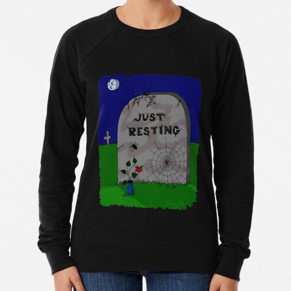 Goth Halloween Night Spider Web Tombstone Lightweight Sweatshirt