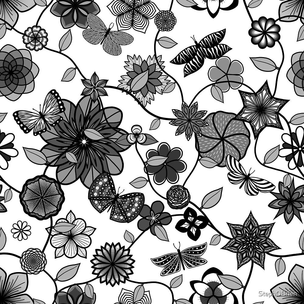 Butterfly Garden - Black on White by StephOBrien