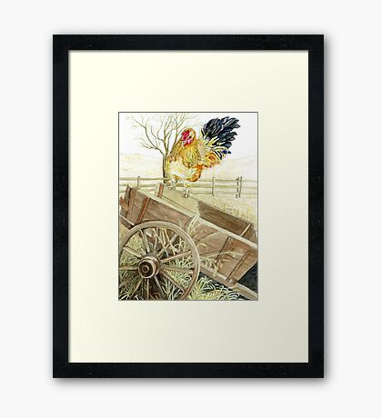 Rooster Perched on an Old Wagon Framed Print