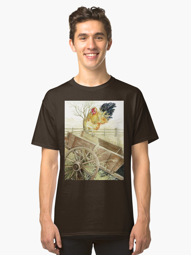 Rooster Perched on an Old Wagon Classic T-Shirt Front