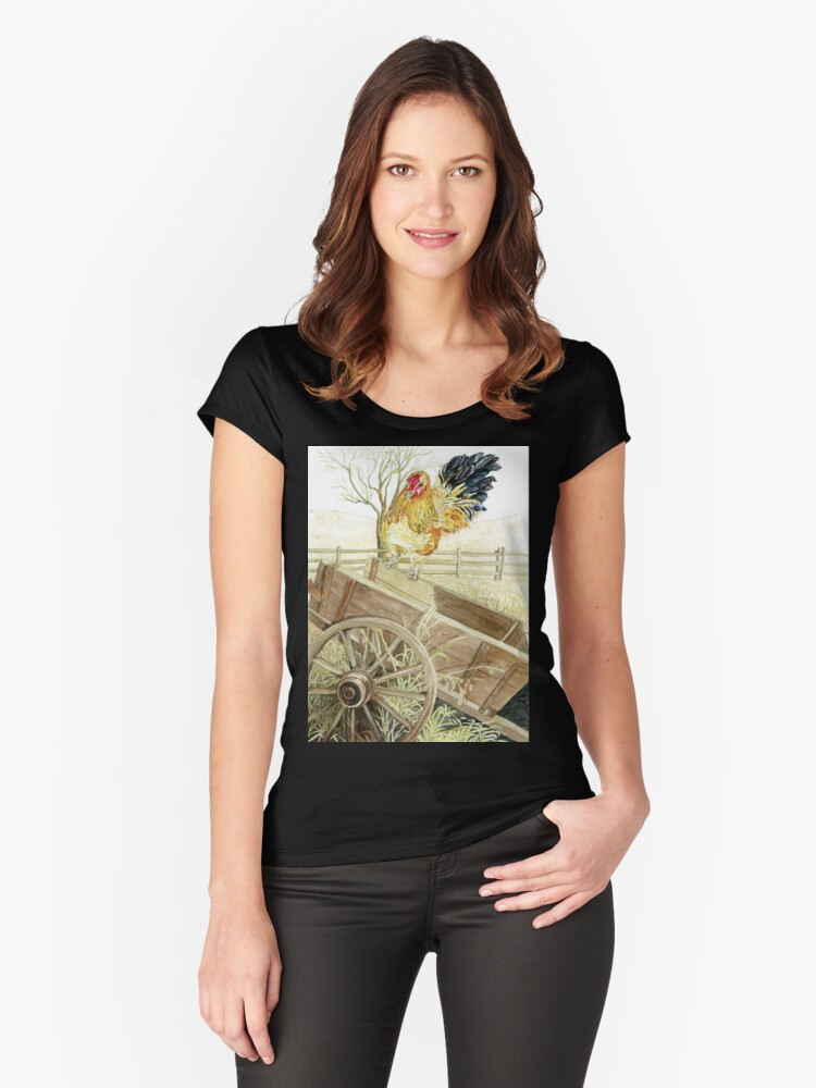 Rooster Perched on an Old Wagon Women's Fitted Scoop T-Shirt Front