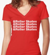 & Roller Skates Women's Fitted V-Neck T-Shirt