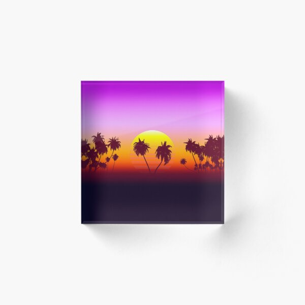 Palm Trees Sunset Acrylic Block