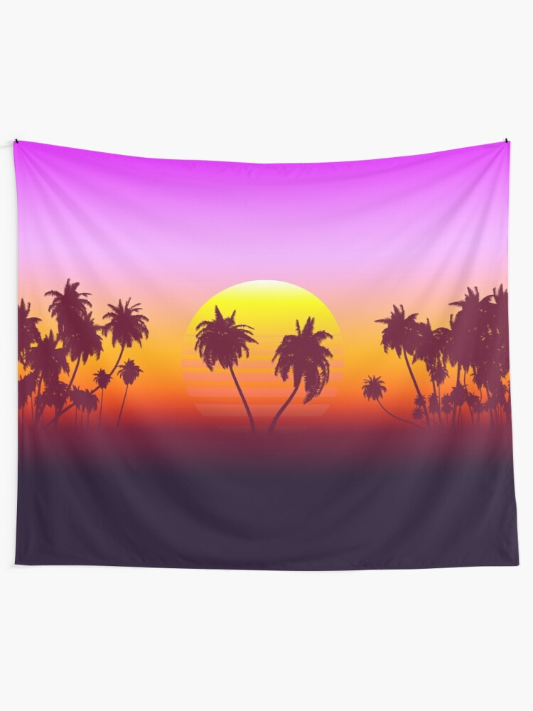 Alternate view of Palm Trees Sunset Tapestry