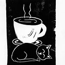 Tiny cat with coffee (block print) by tmoriginals