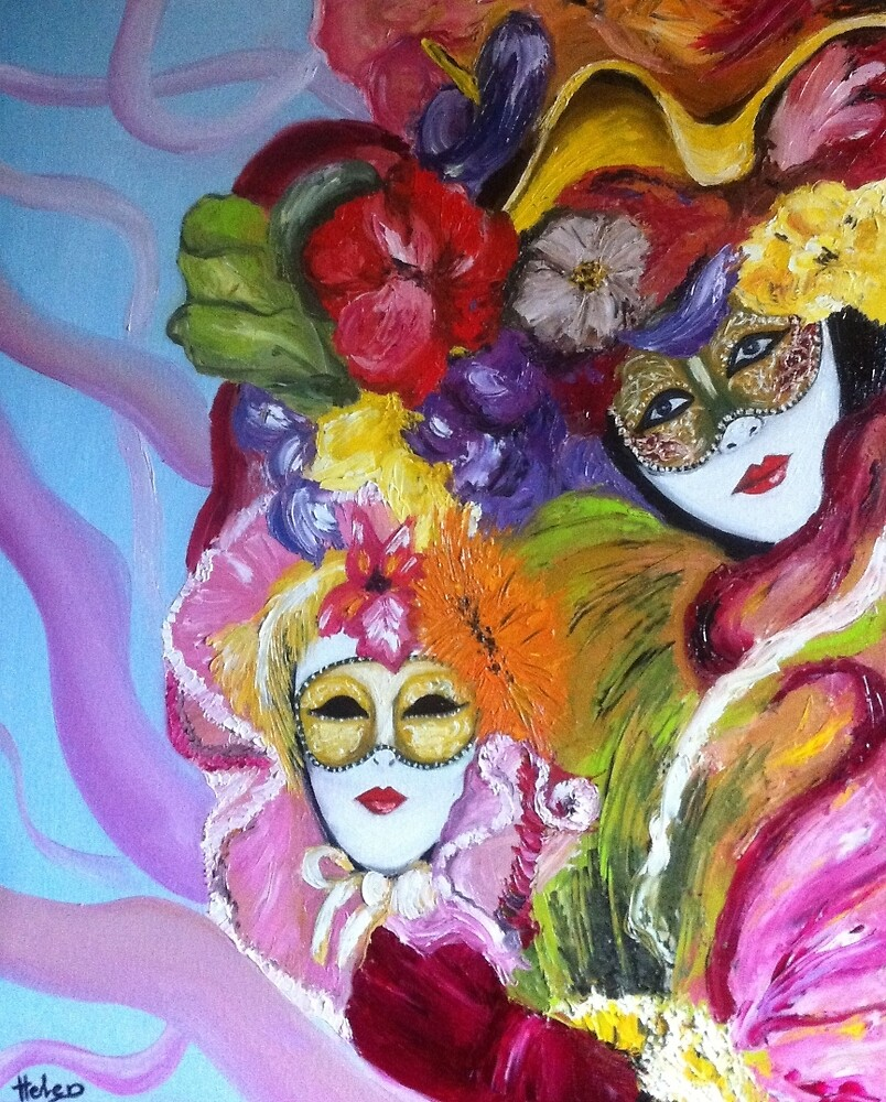 Colorful venetian mask  by Helen Bellart