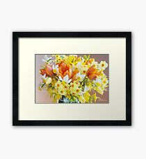 Sunny Tulips and Narcissus Framed Print