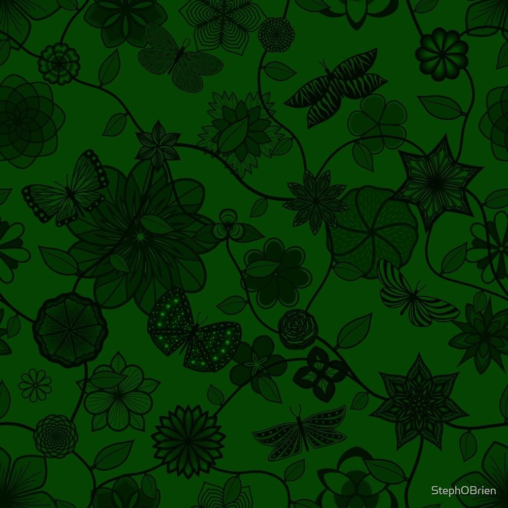 Butterfly Garden - Green by StephOBrien