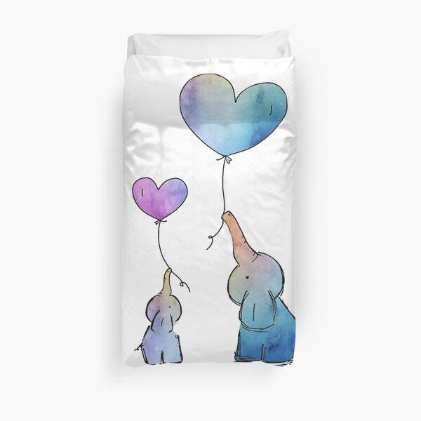 Colorful Watercolor Elephants Love Duvet Cover