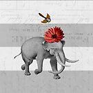 elephant and bird by beverlylefevre