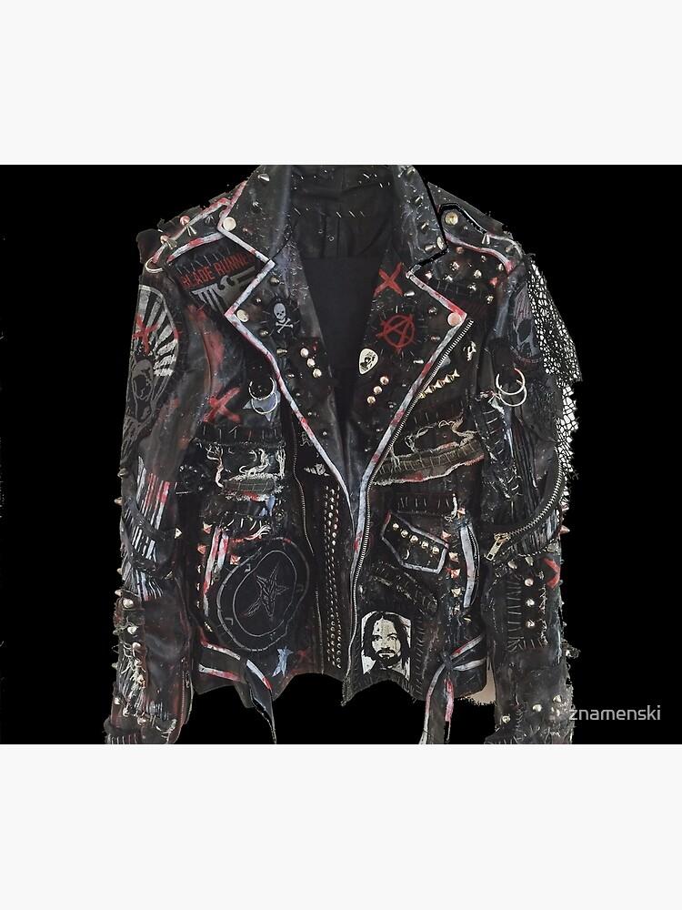 Fashionable leather jacket of hippies or punk by znamenski