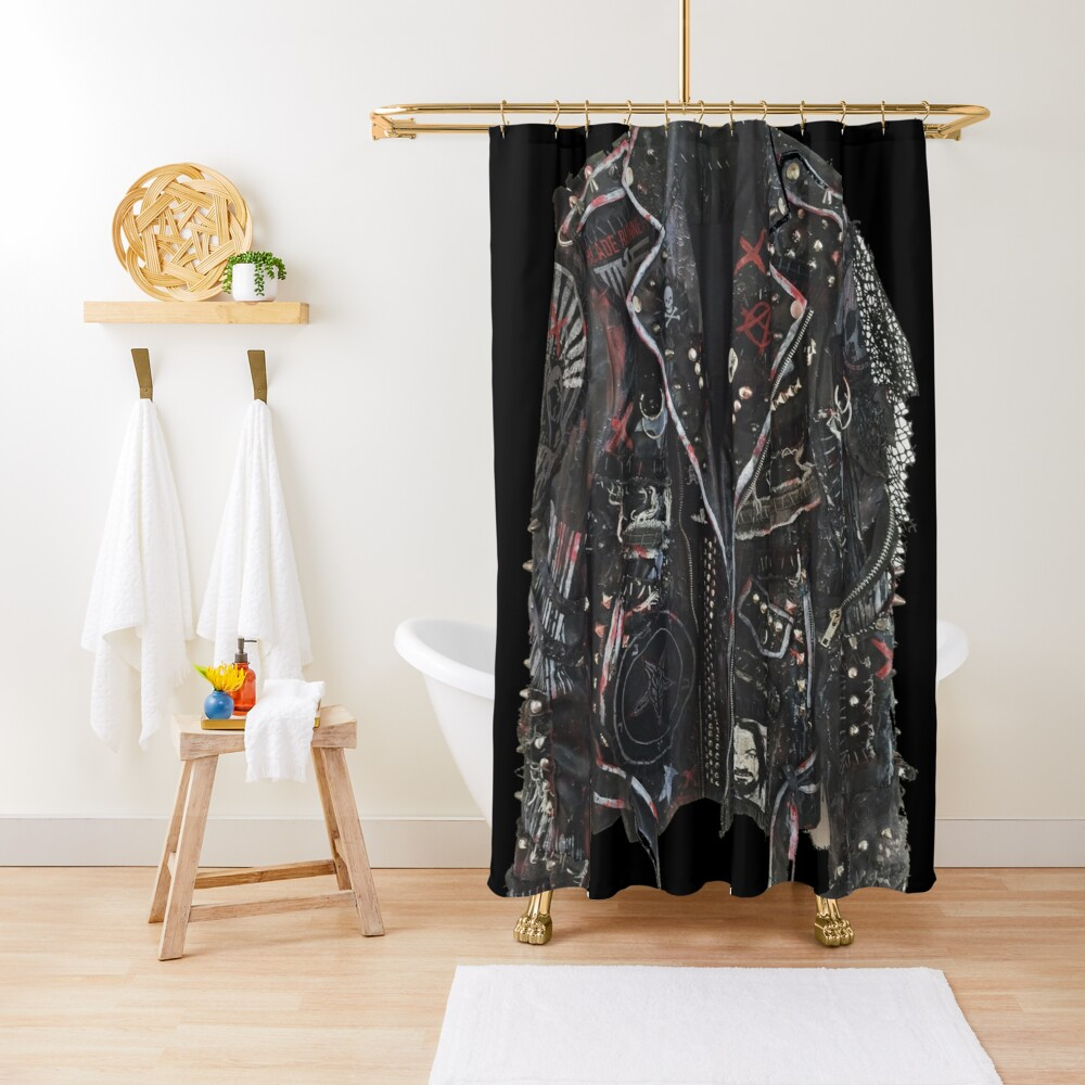 Fashionable leather jacket of hippies or punk Shower Curtain