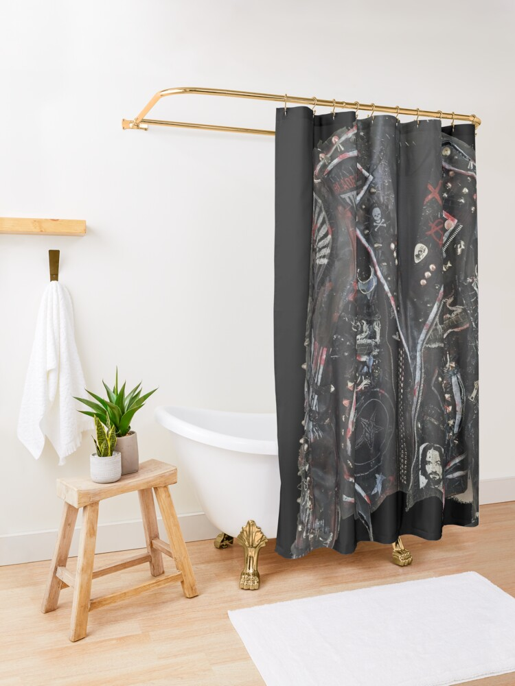 Alternate view of Fashionable leather jacket of hippies or punk Shower Curtain