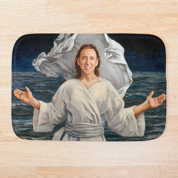 Nicolas Cage walking on water Bath Mat