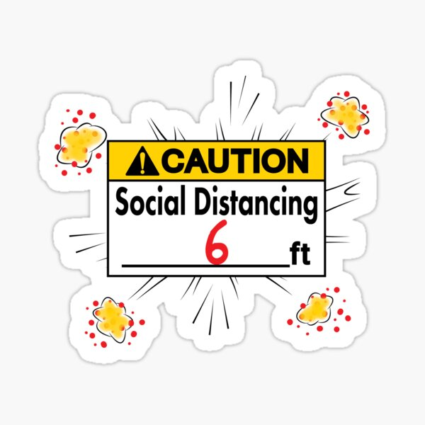 Caution Social Distancing 6 Ft. Sticker