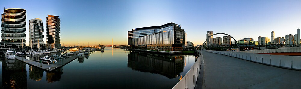 Webb & Bolte Bridges Panorama, Docklands. by Russell Charters