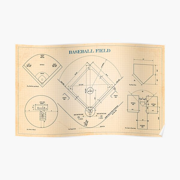 Baseball Field (Old blue grid) - English Poster