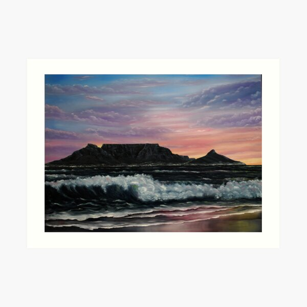 Sunset over Cape Town - Oil Painting Art Print