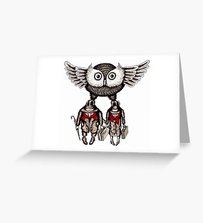 Travel by Owl surreal black and white pen ink drawing Greeting Card