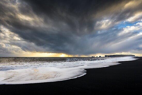 Sunset at Reynisfjara Beach, Iceland by Heidi Stewart