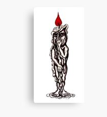 Candle Man surreal black and white pen ink drawing Canvas Print