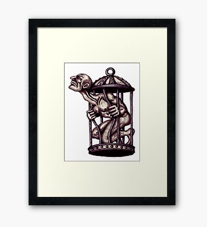 Freedom surreal black and white pen ink drawing Framed Print