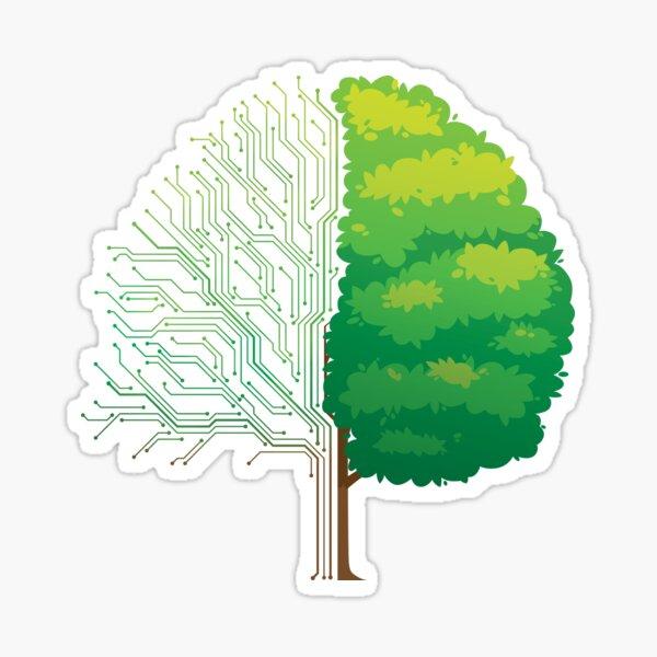 Tree half circuit board half natural Sticker