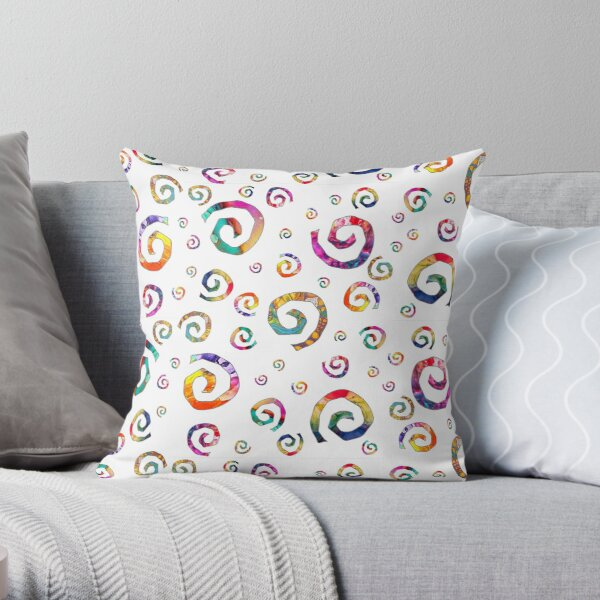 Abstract Painted Swirls | Rainbow Pattern White Throw Pillow