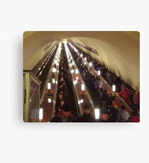 Moscow Metro Escalator  Canvas Print