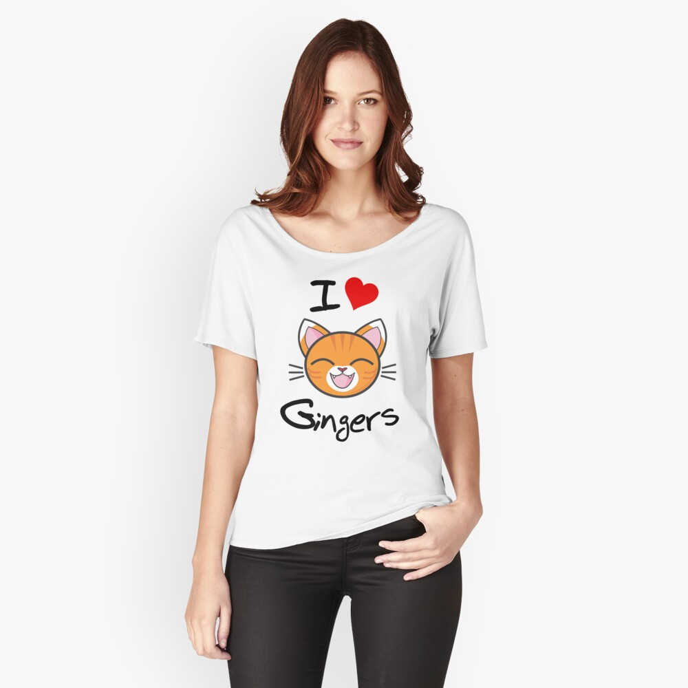 I Love Gingers Slogan | Happy Smiling Cute Cat White Relaxed Fit T-Shirt
