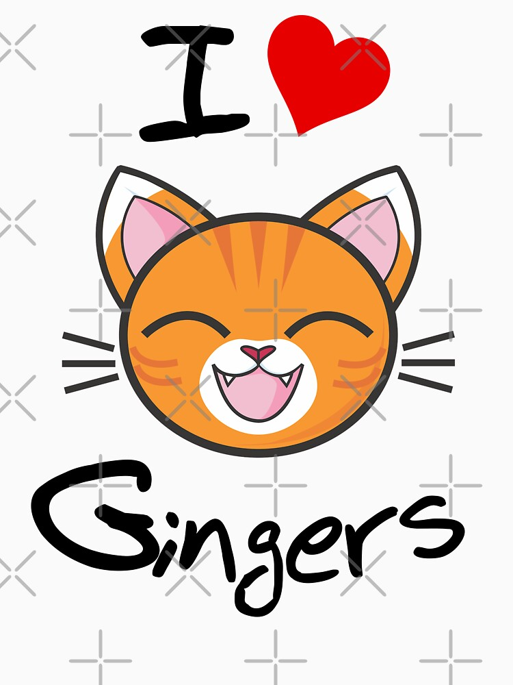 I Love Gingers Slogan | Happy Smiling Cute Cat White by Art-by-ANS