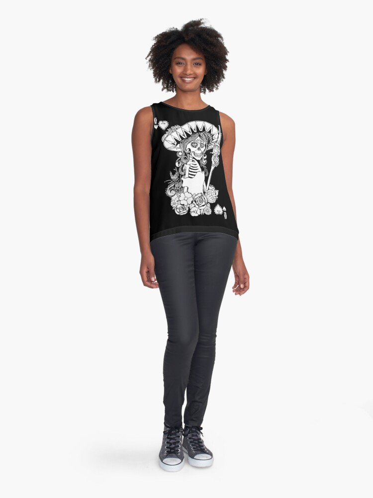 Alternate view of Day of the Dead Queen of Hearts Sleeveless Top