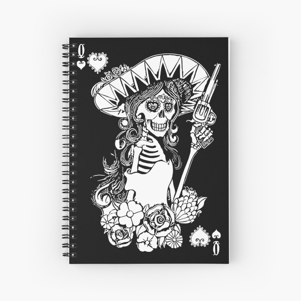 Day of the Dead Queen of Hearts Spiral Notebook