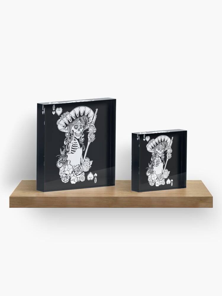 Alternate view of Day of the Dead Queen of Hearts Acrylic Block