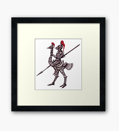 Knight on Ostrich surreal black and white pen ink drawing Framed Print