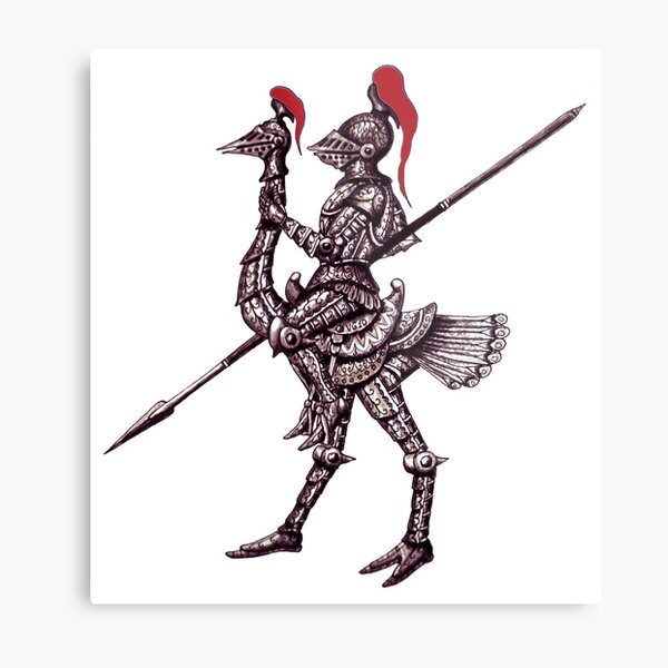 Knight on Ostrich surreal black and white pen ink drawing Metal Print