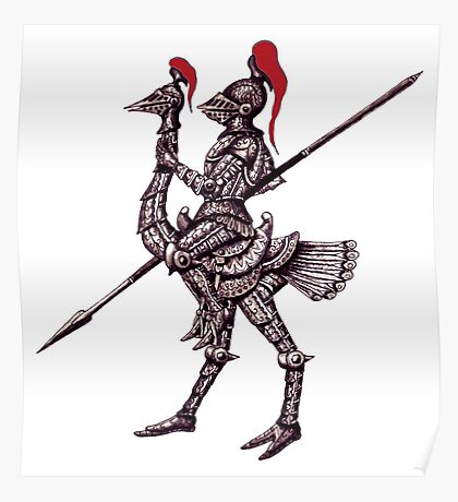 Knight on Ostrich surreal black and white pen ink drawing Poster