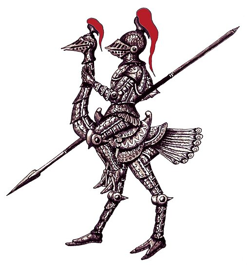 Knight on Ostrich surreal black and white pen ink drawing by Vitaliy Gonikman