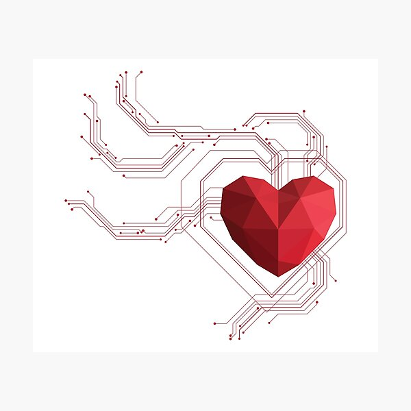 Polygon heart with circuit board Photographic Print