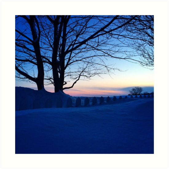 Snow Covered White Picket Fence in Charlottetown PEI by nadinestaaf