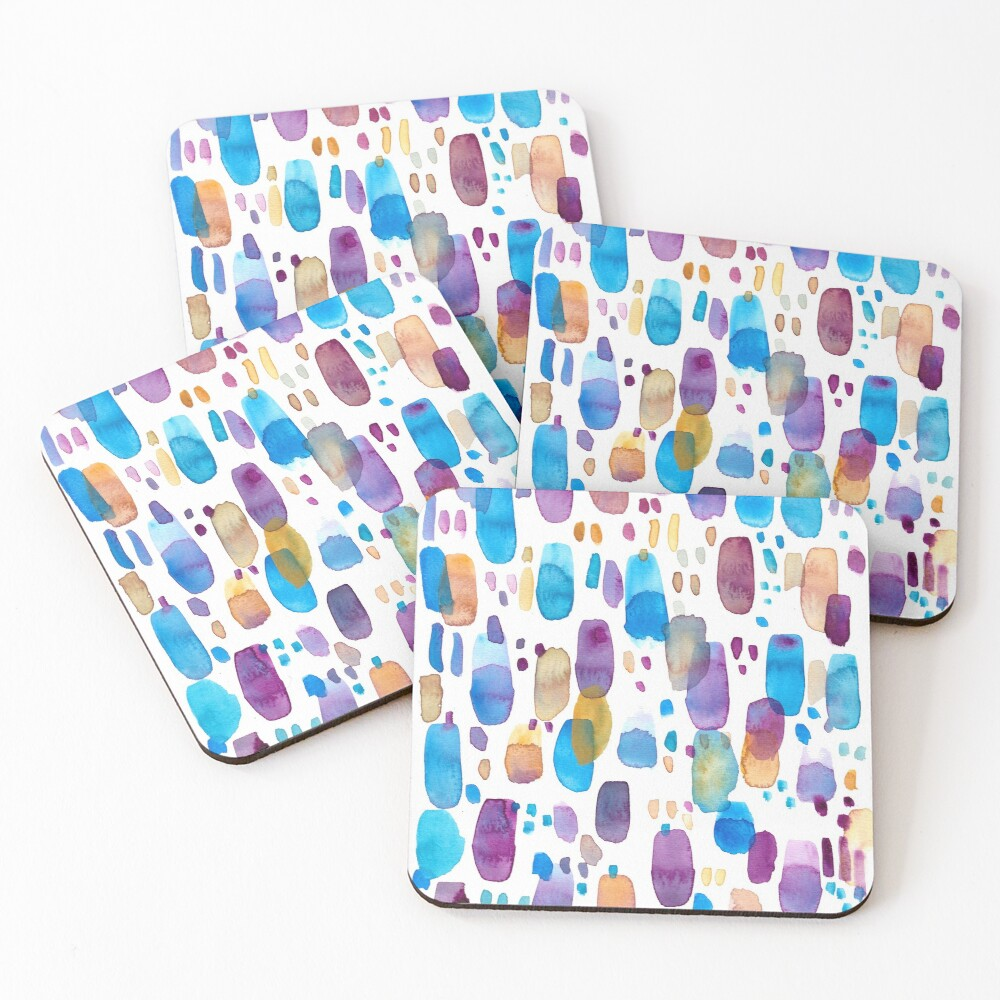 Watercolors blue and purple strokes Coasters (Set of 4)
