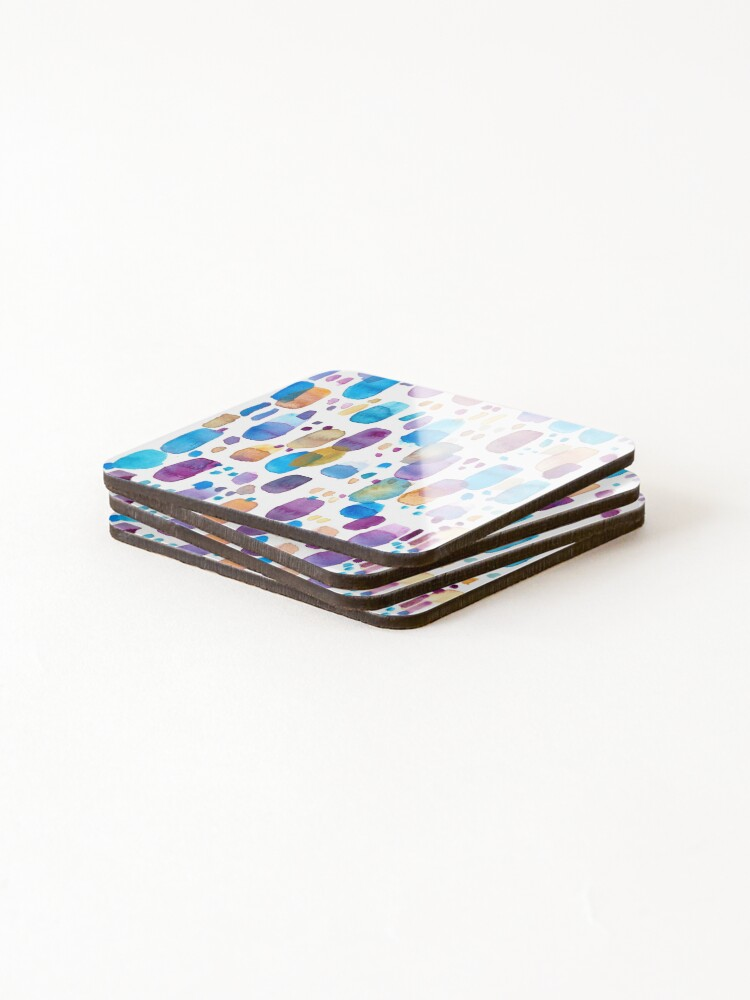 Alternate view of Watercolors blue and purple strokes Coasters (Set of 4)